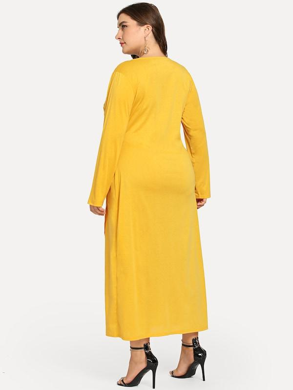 Plus Surplice Front Solid Dress