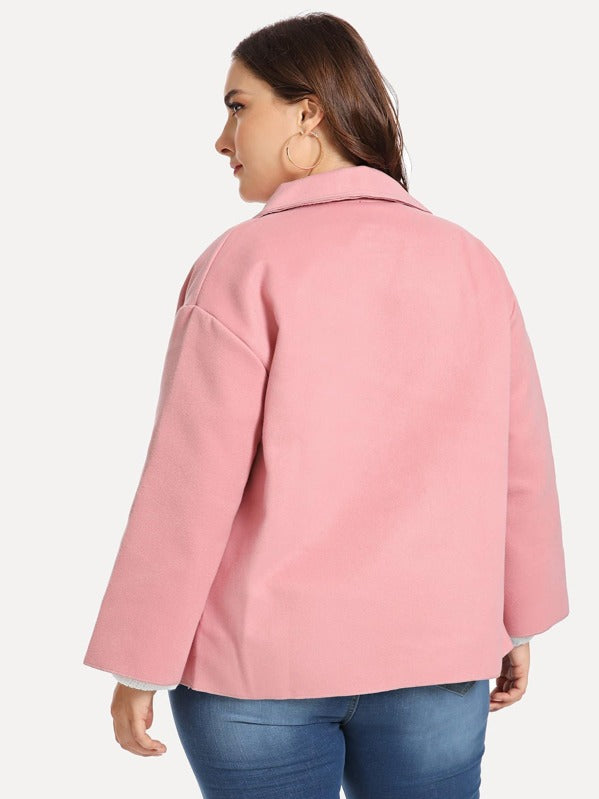 Plus Size Pocket Decoration Solid Coat