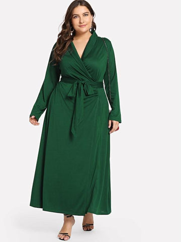 Plus Size Surplice Front Solid Dress