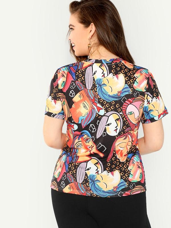Plus Size Geo And Figure Print Tee