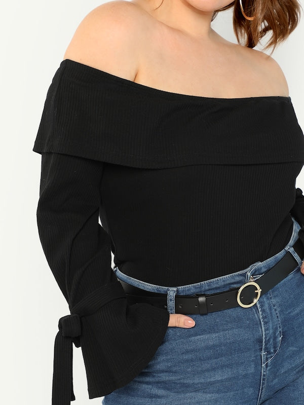 Plus Knot Cuff Slim Fitted Bardot Top