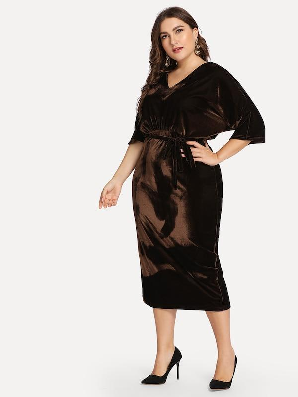 Plus Size Self Belted Pencil Dress