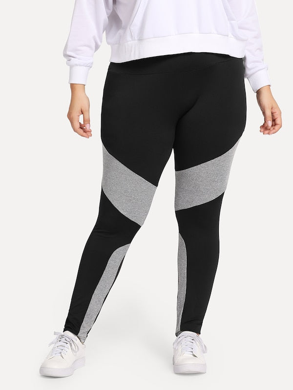 Plus Size Contrast Panel Leggings