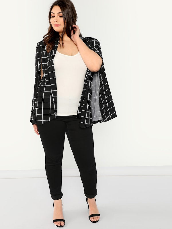 Plus Size Cape Sleeve Grid Blazer