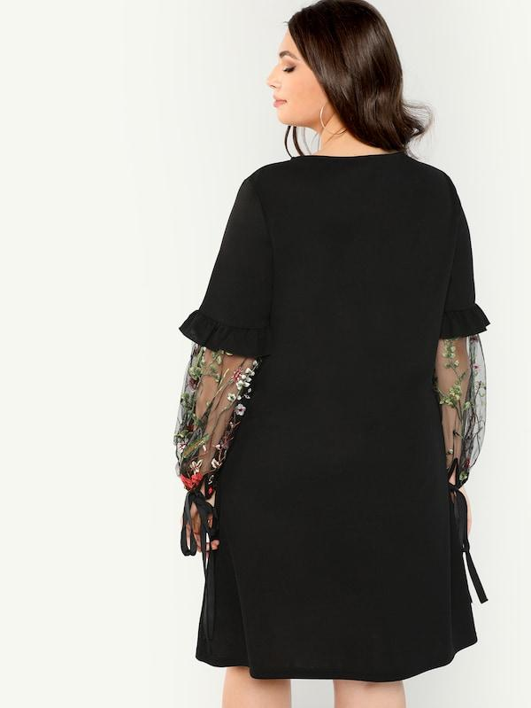 Plus Size Botanical Mesh Insert Sleeve Dress