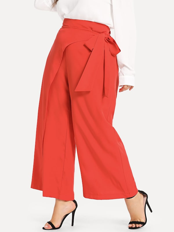 Plus Size Tie Waist Wide Leg Pants