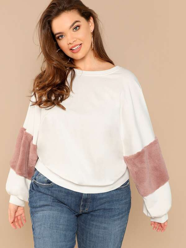 Plus Size Faux Fur Detail Sweatshirt