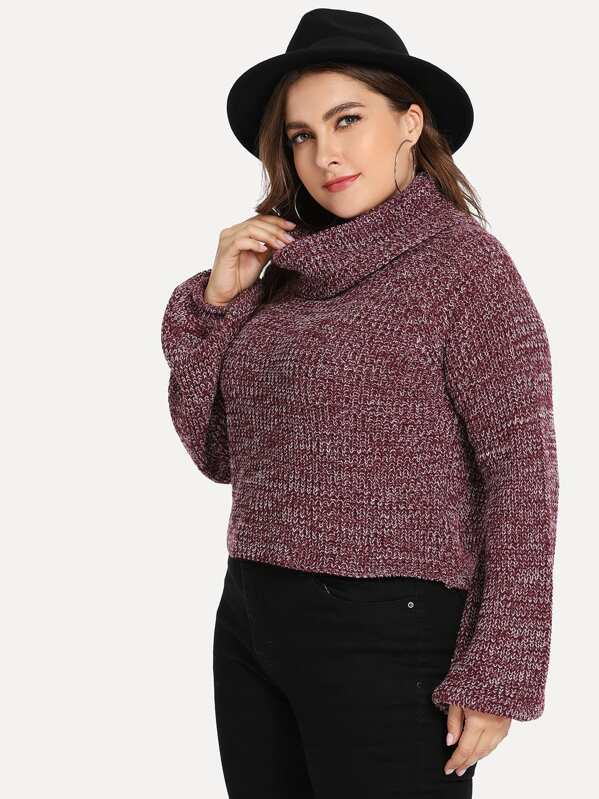 Plus Size Turtle Neck Lantern Sleeve Marled Sweater