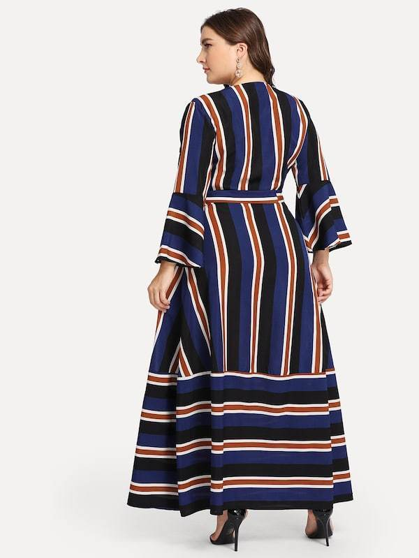 Plus Size Belted Striped Dress