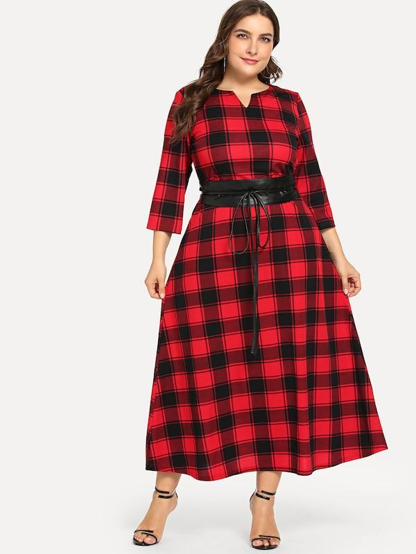 Plus Size Plaid Belted Sweetheart Neck Dress