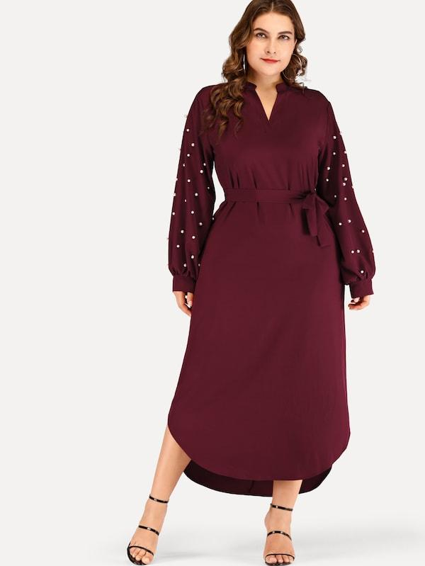 Plus Size Solid Beaded Belted Dress
