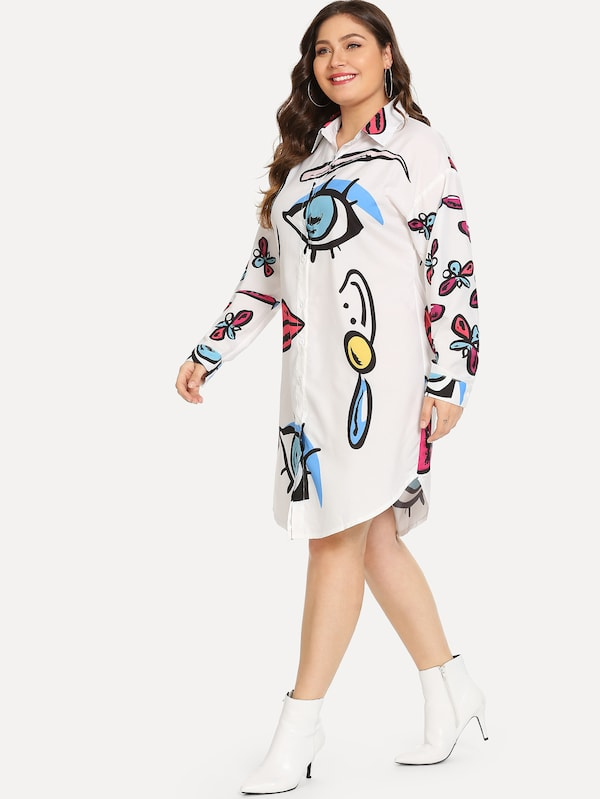 Plus Single Breasted Cartoon Print Dress