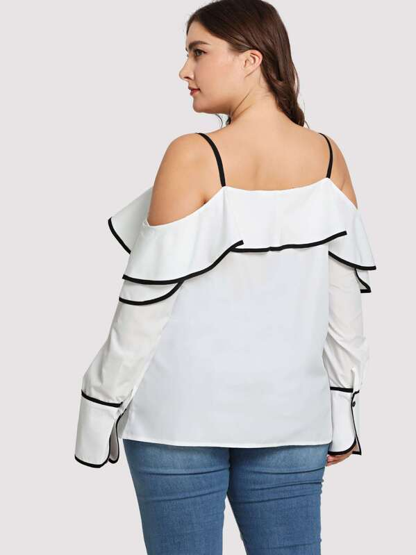Plus Size Contrast Binding Buttoned Ruffle Blouse