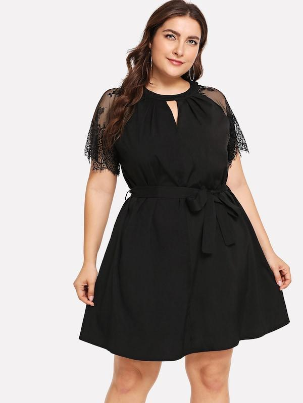 Plus Size Floral Lace Insert Belted Dress