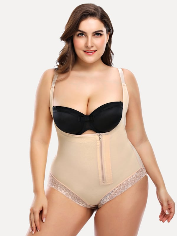 Plus Size Lace Trim Shapewear Bodysuit