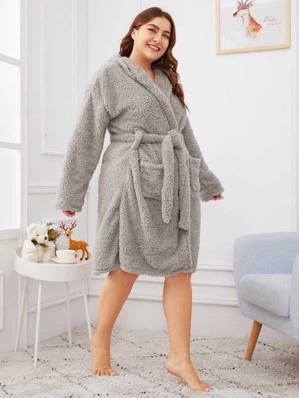Plus Size Cartoon Self Belted Hooded Robe