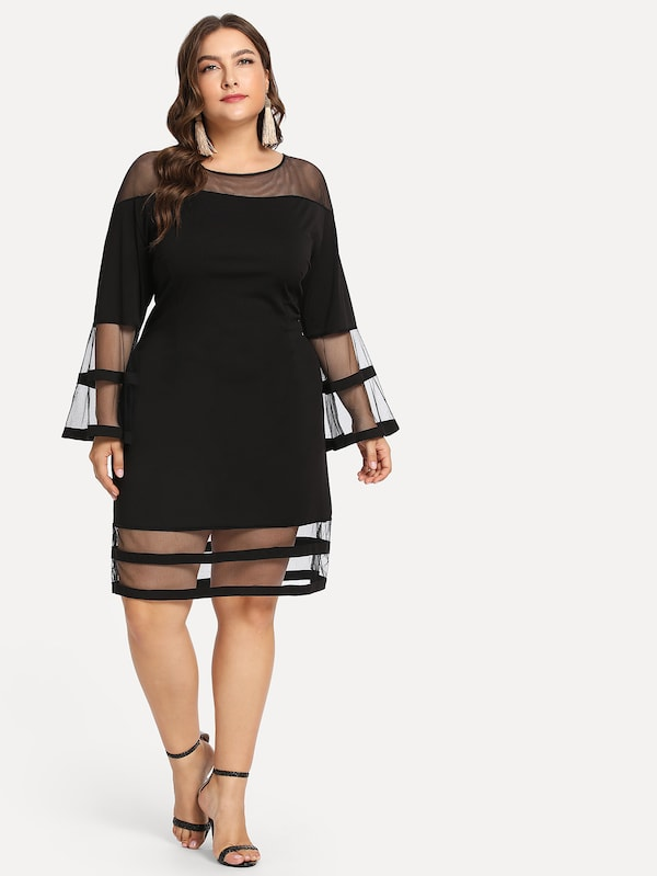 Plus Size Contrast Mesh Tunic Dress