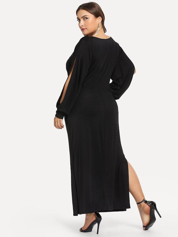 Plus Size Cold Shoulder Split Solid Dress