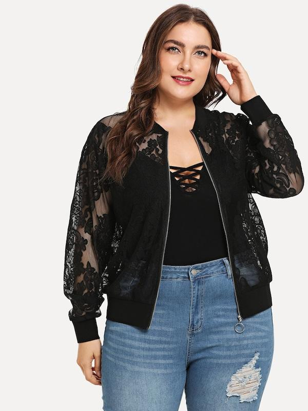 Plus Size Solid Lace Detail Jacket