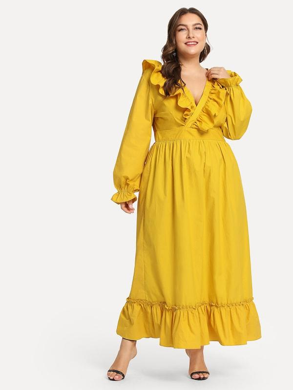 Plus Size Ruffle Hem Knot Longline Dress