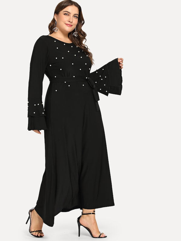 Plus Size Pearl Beaded Belted Dress