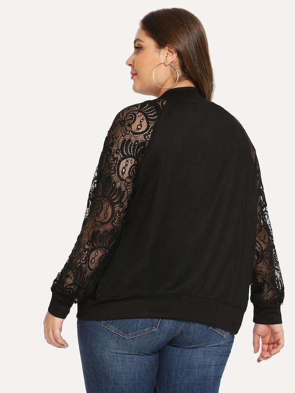 Plus Size Contrast Lace Solid Jacket