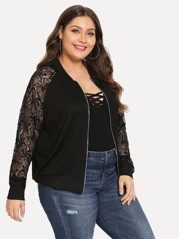 1d555933eb712f Plus Size Contrast Lace Solid Jacket ...