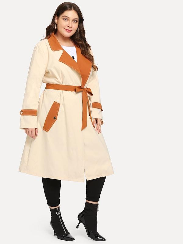 Plus Belt Double Pocket Coat