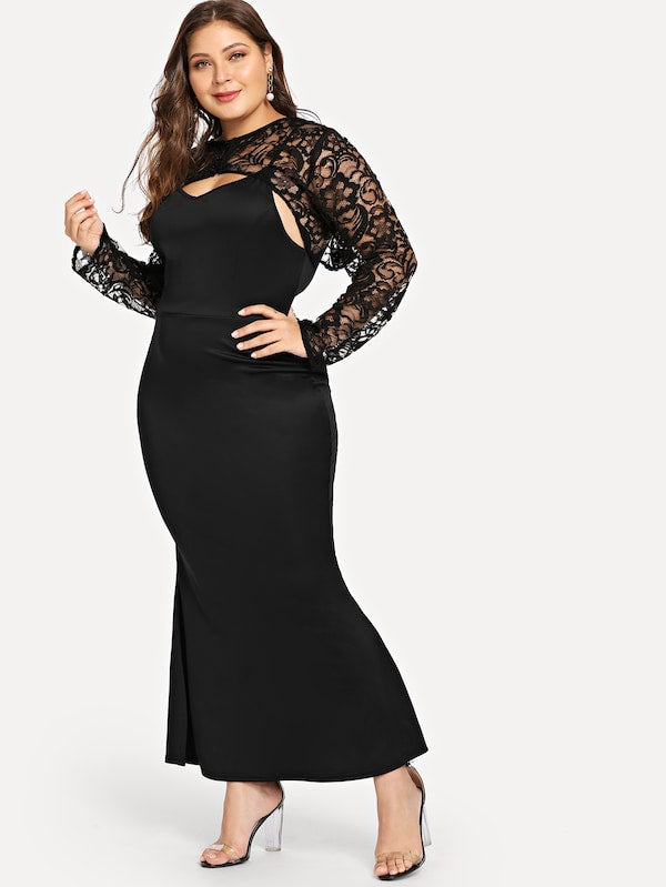 Plus Size Lace Yoke Form Fitting Dress