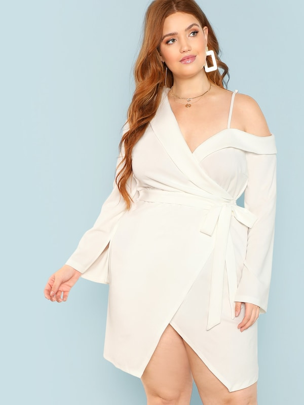 Plus Size Asymmetric Shoulder Wrap Dress