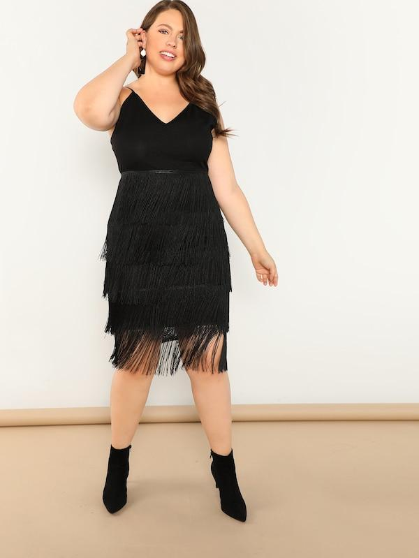 Plus Size Layered Fringe Cami Dress