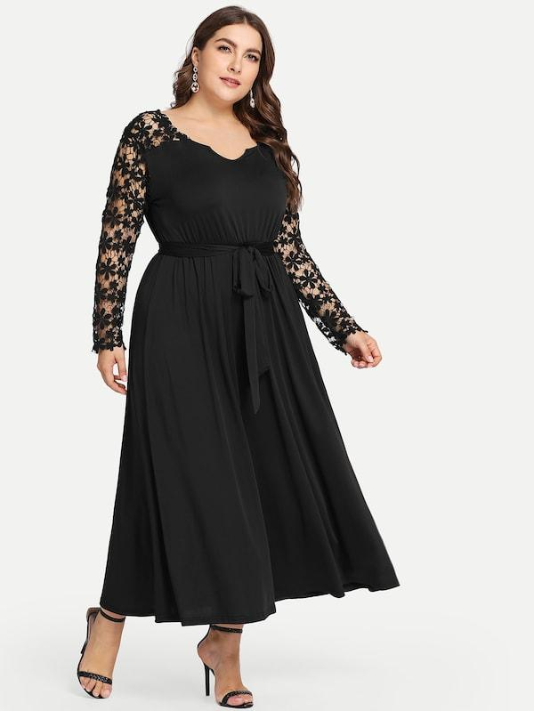 Plus Size Solid Cut Out Dress