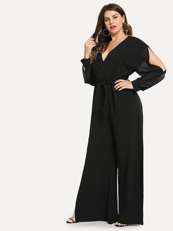 Plus Size Solid Self-Tie V-Neck Jumpsuit
