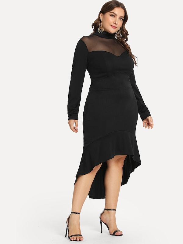 Plus Size Contrast Mesh Dip Hem Dress