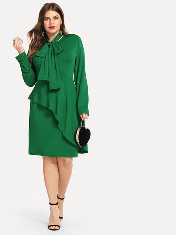 Plus Size Solid Overlap Dress