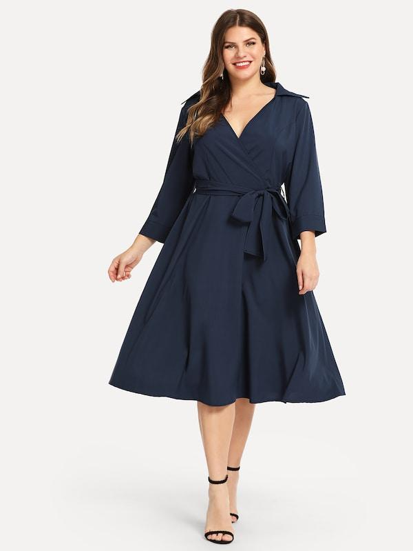 Plus Size Surplice Neck Solid Dress