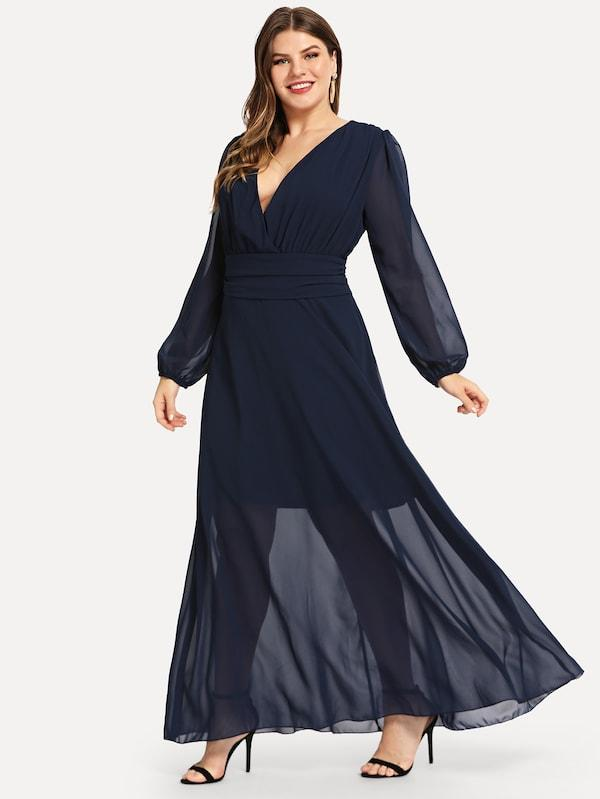 Plus Size Plunging Neck Solid Dress