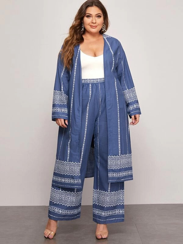 Plus Size Belted Kimono and Wide Leg Pants Set