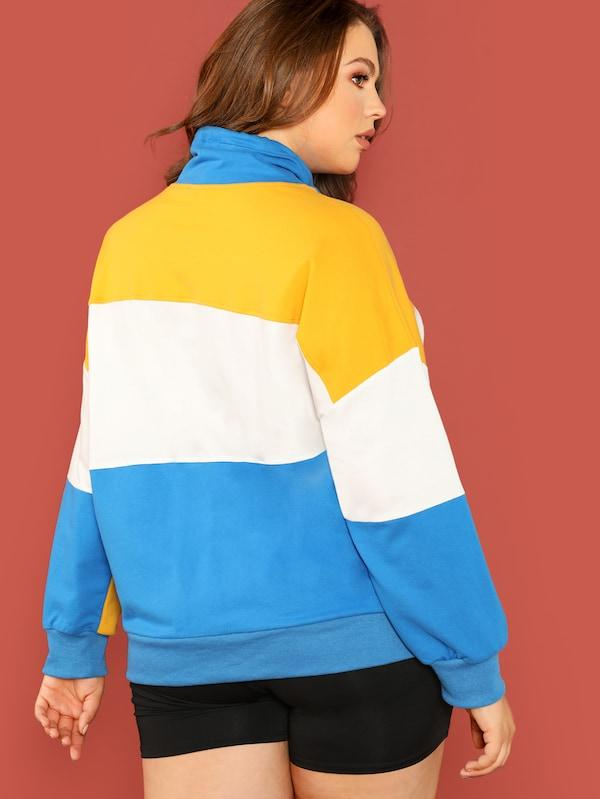 Plus Size Drawstring Funnel Neck Embroidered Color Block Sweatshirt