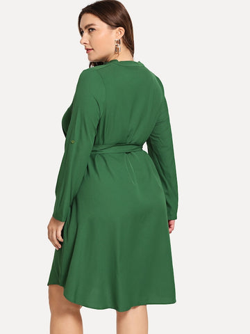Plus Size Solid Self-Tie V-Neck Dress