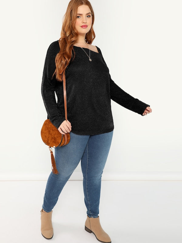 Plus Size Asymmetric Shoulder Ribbed Tee