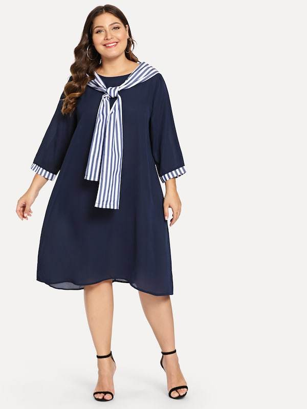 Plus Size Striped Bow Tied Neck Dress