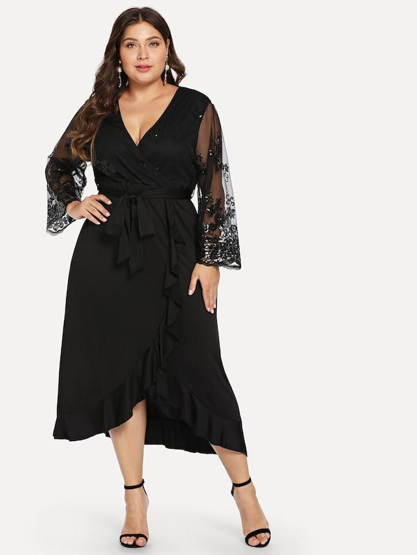 Plus Size Mesh Sleeve Ruffle Trim Dress