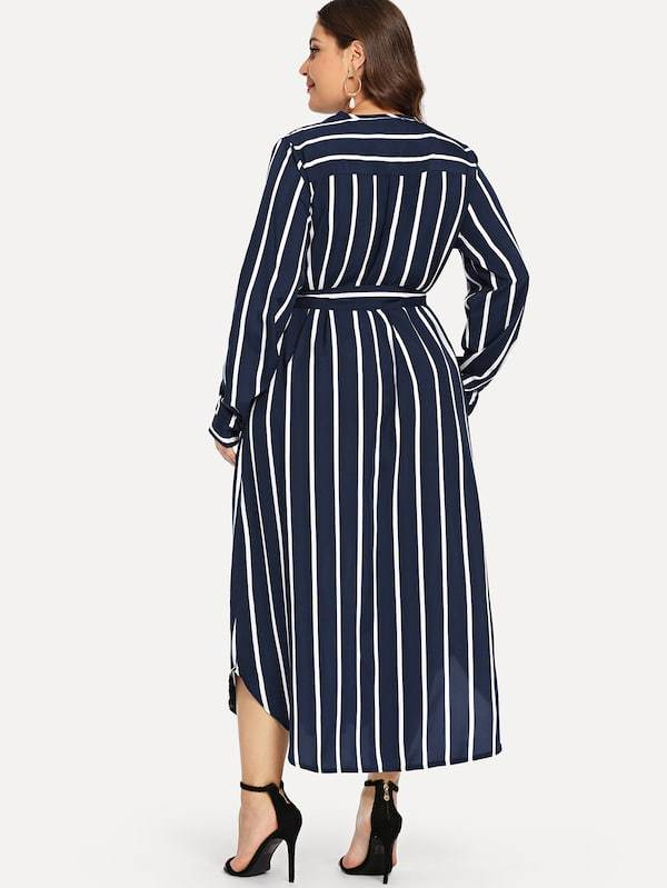 Plus Size Self Tie Striped Dress