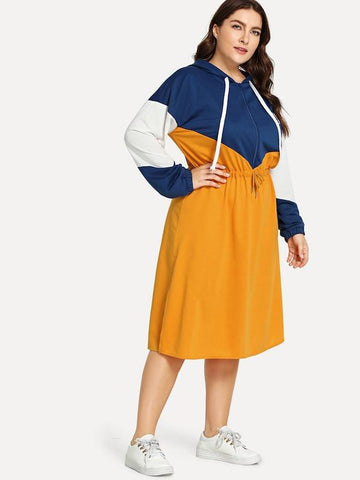 Plus Size Drawstring Color Block Hooded Dress