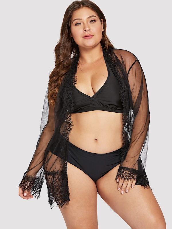 Plus Size Eyelash Lace Trim Robe With Thong & Belt