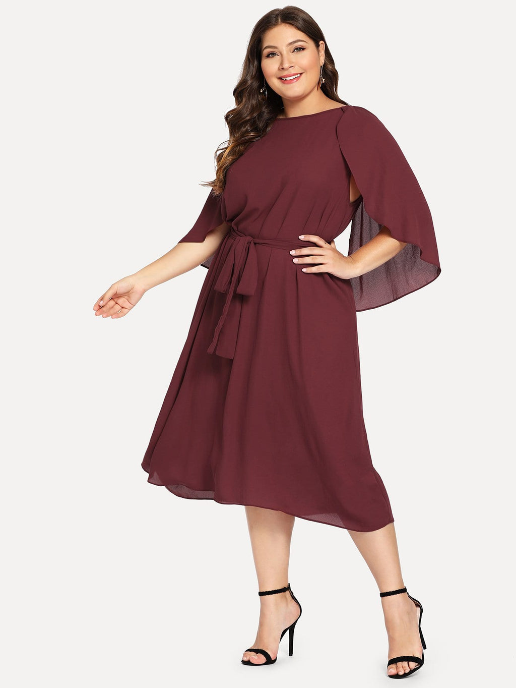 Plus Size Flowy Cape Sleeve Belted Dress