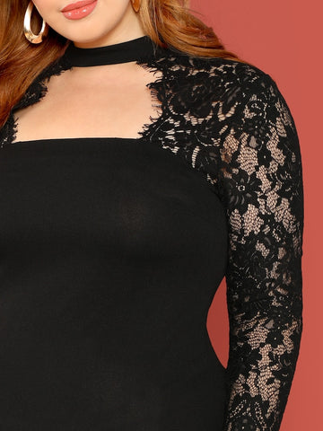 Plus Size Lace Sleeve Choker Neck Dress