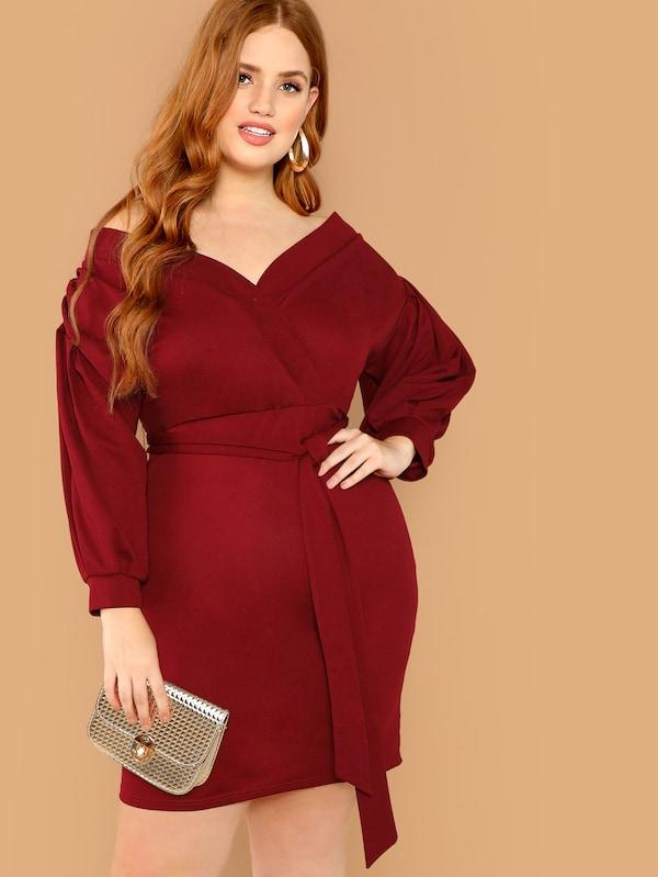 Plus Size Surplice Neck Tie Waist Dress