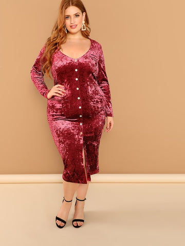 Plus Size Pocket Patched Button Up Velvet Dress